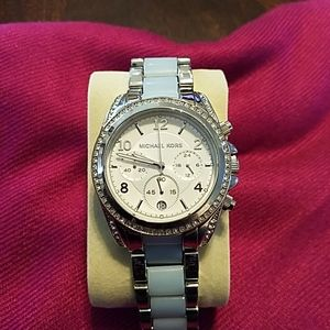 Michael Kors silver/blue watch Model #MK-6137